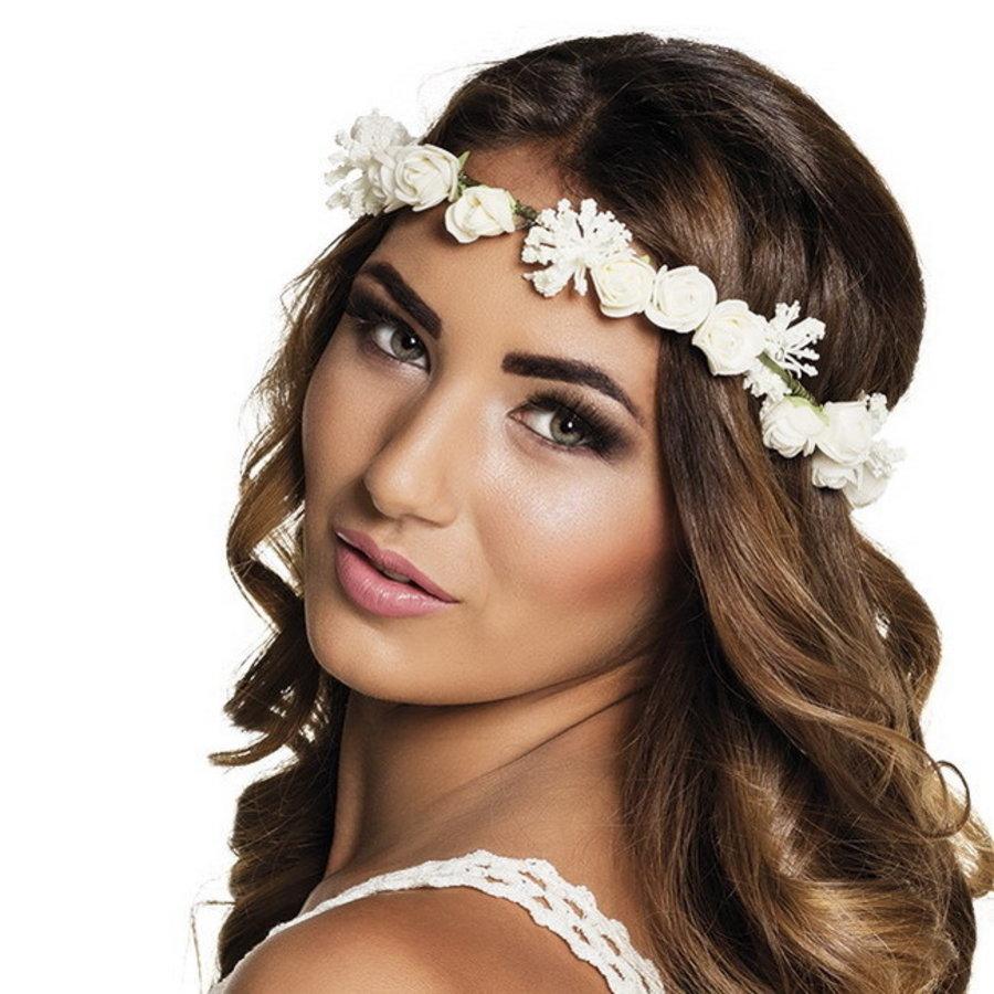 Haarband met witte roosjes