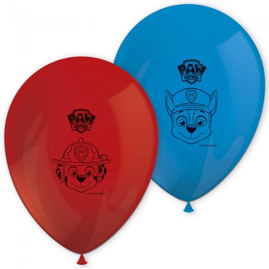 Ballonnen Paw Patrol rood blauw 8 stuks