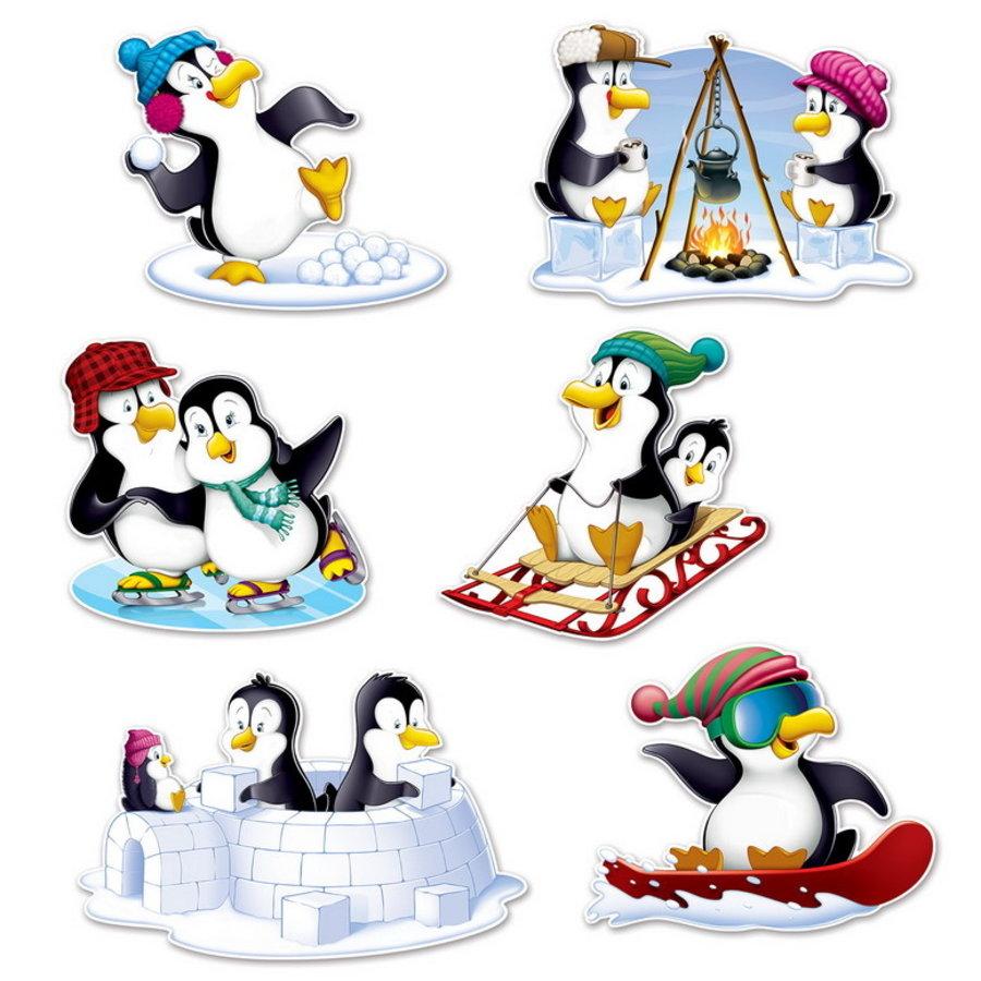 Decoraties Pinguïns 6 stuks