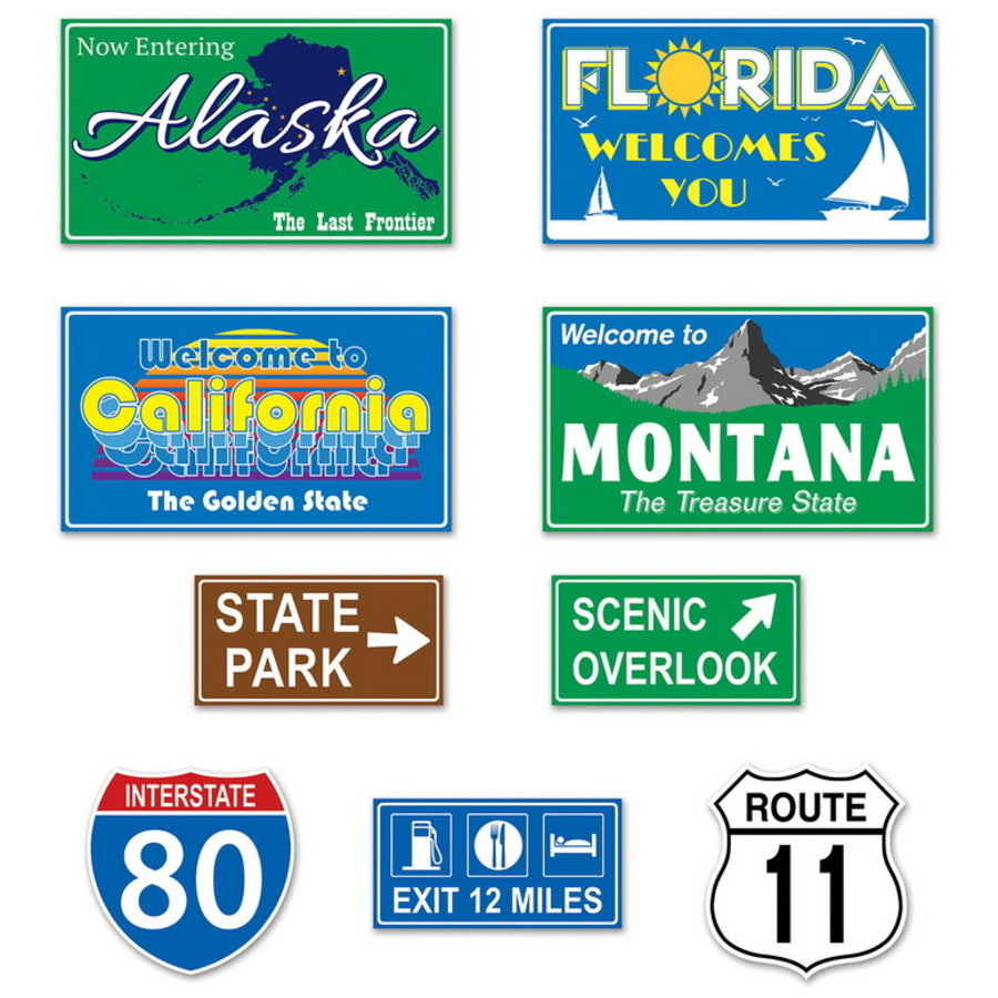 Decoraties Travel Road Signs 9 stuks