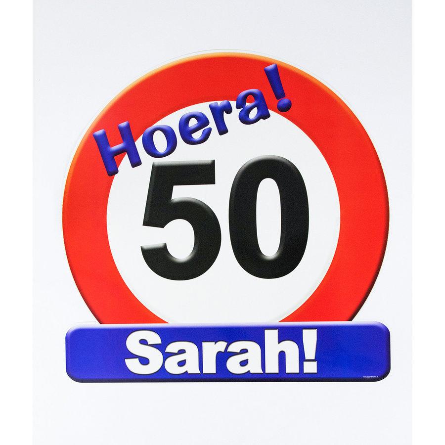 Schild Hoera 50 Sarah groot