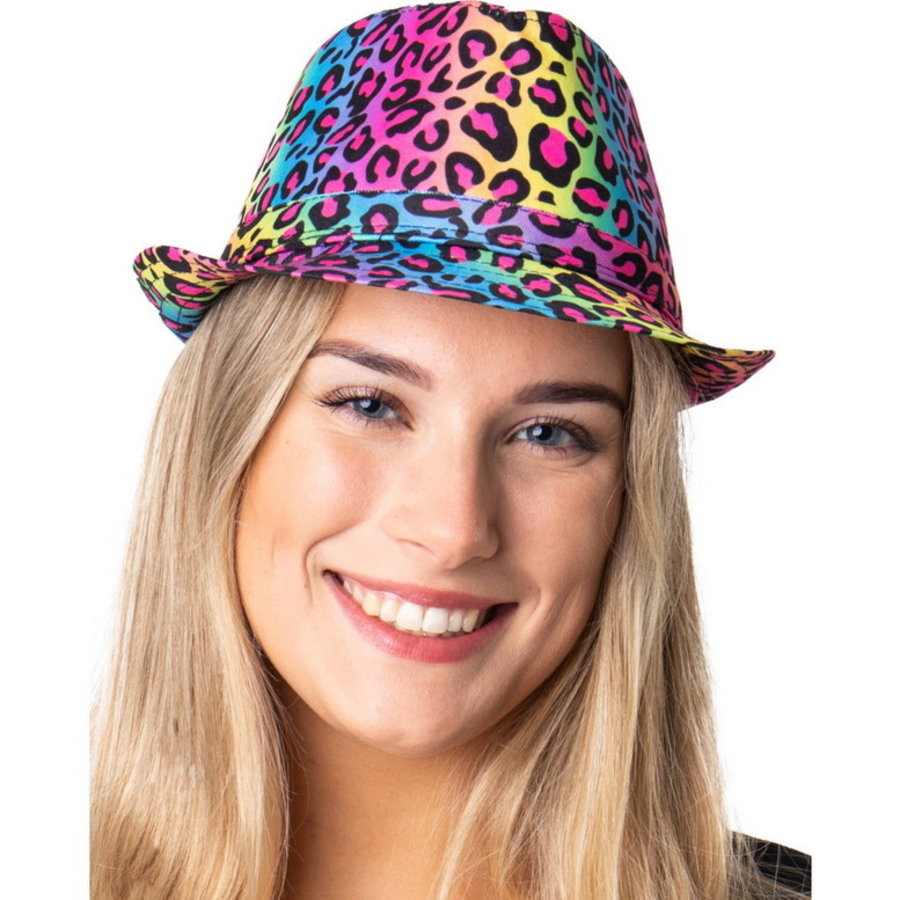 Luipaard hoedje neon