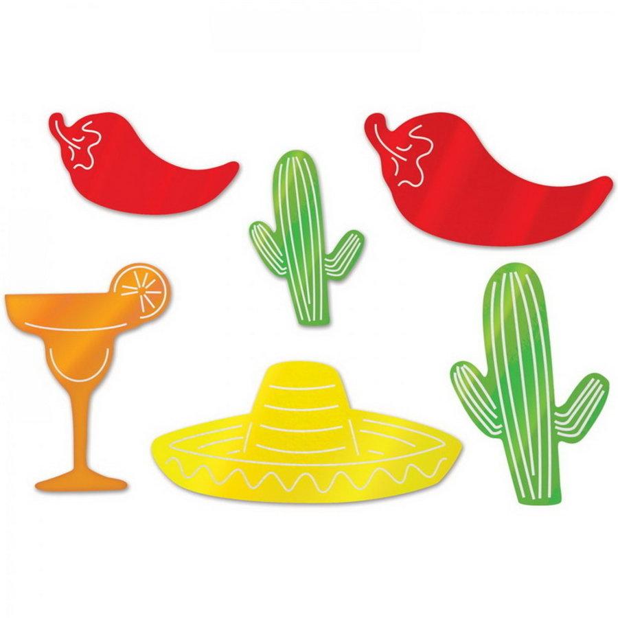 Decoratie Mexicaans folie 6 stuks