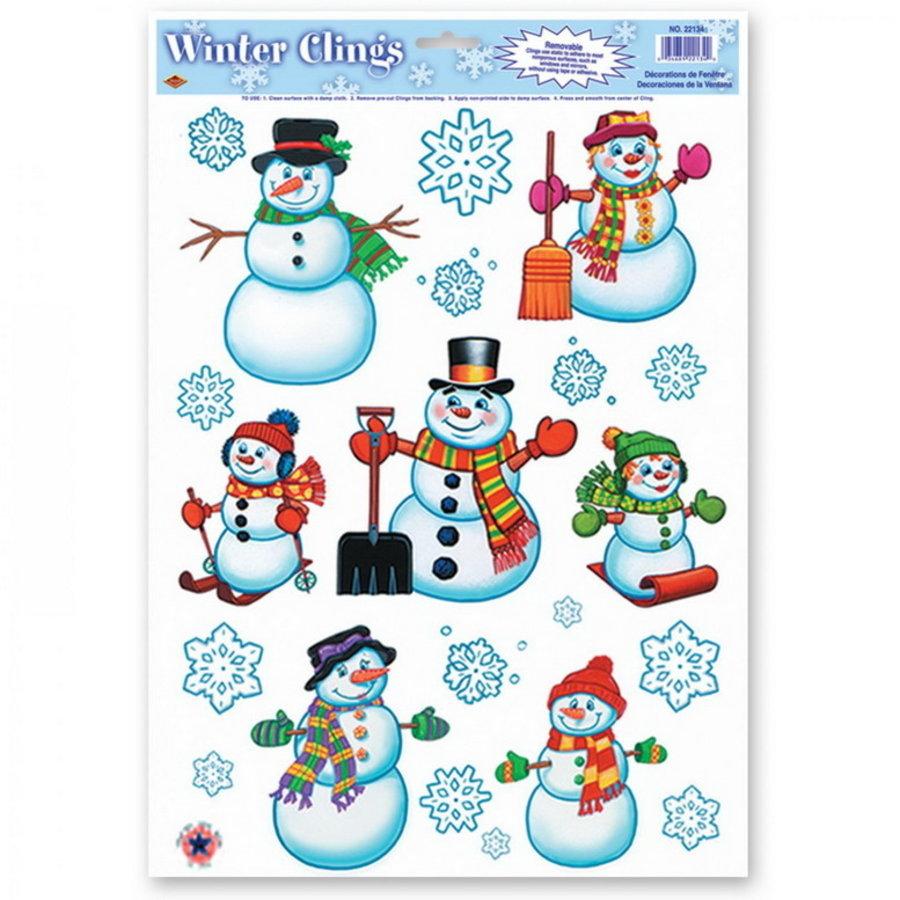Raamdecoratie sneeuwpoppen en sneeuwvlokken 20 stuks
