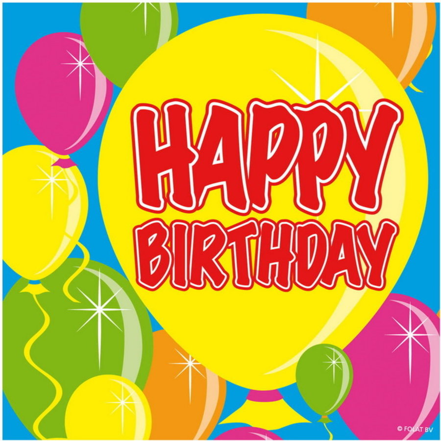 Servetten Happy Birthday ballonnen