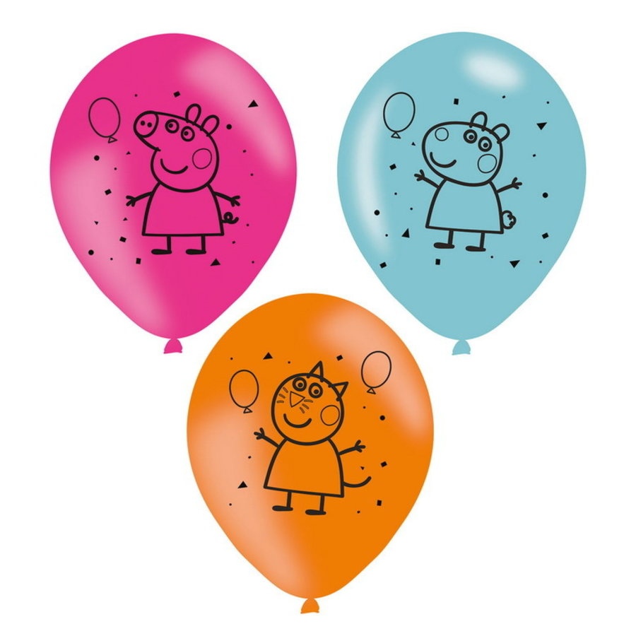Ballonnen Peppa Pig en friends 6 stuks
