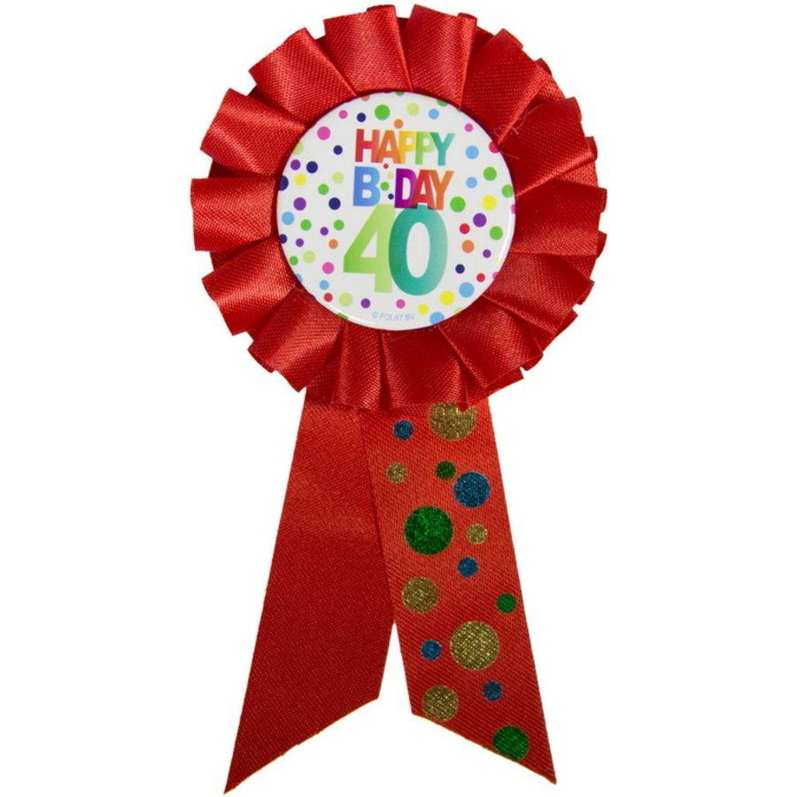 Rozet Happy B Day 40 jaar dots