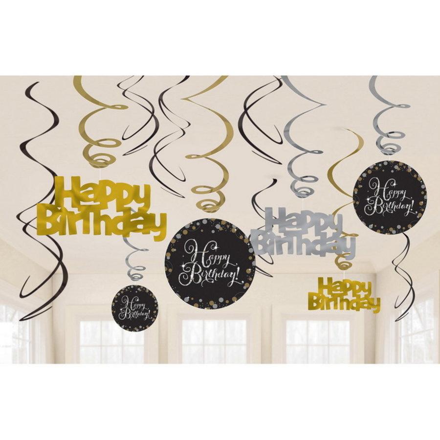 Hangdecoraties Happy Birthday goud zilver zwart