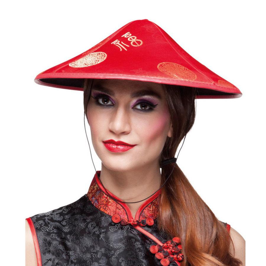 Chinese hoed Chang rood met Chinese tekens