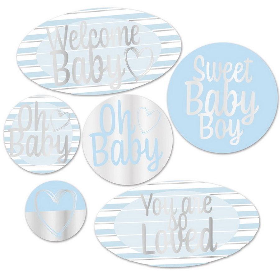 Decoraties Welcome baby blauw zilver 6 stuks