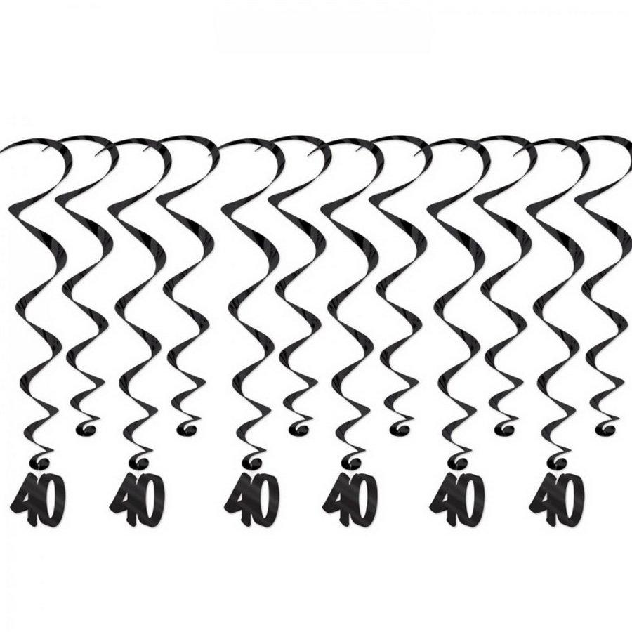 Hangdecoraties 40 jaar whirls zwart