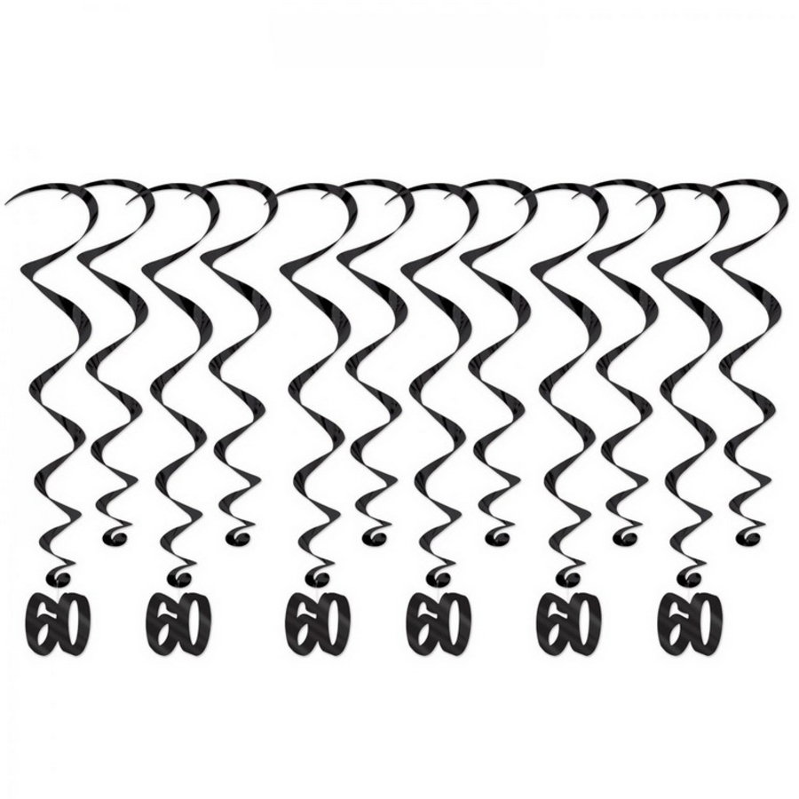 Hangdecoraties 60 jaar whirls zwart