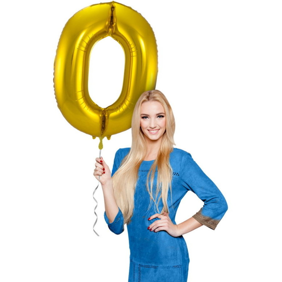 Folieballon cijfer 0 GOUD voor lucht of helium MEGA
