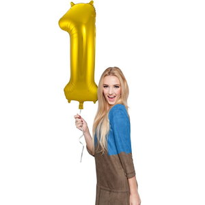 Folieballon cijfer 1 GOUD voor lucht of helium MEGA