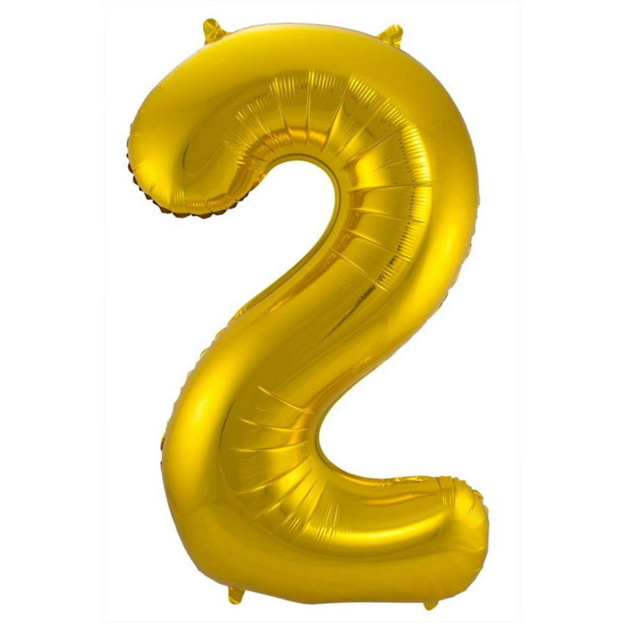 Folieballon cijfer 2 GOUD voor lucht of helium MEGA