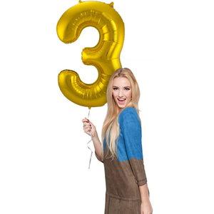 Folieballon cijfer 3 GOUD voor lucht of helium MEGA