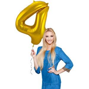 Folieballon cijfer 4 GOUD voor lucht of helium MEGA