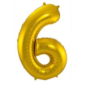 Folieballon cijfer 6 GOUD voor lucht of helium MEGA