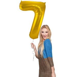Folieballon cijfer 7 GOUD voor lucht of helium MEGA