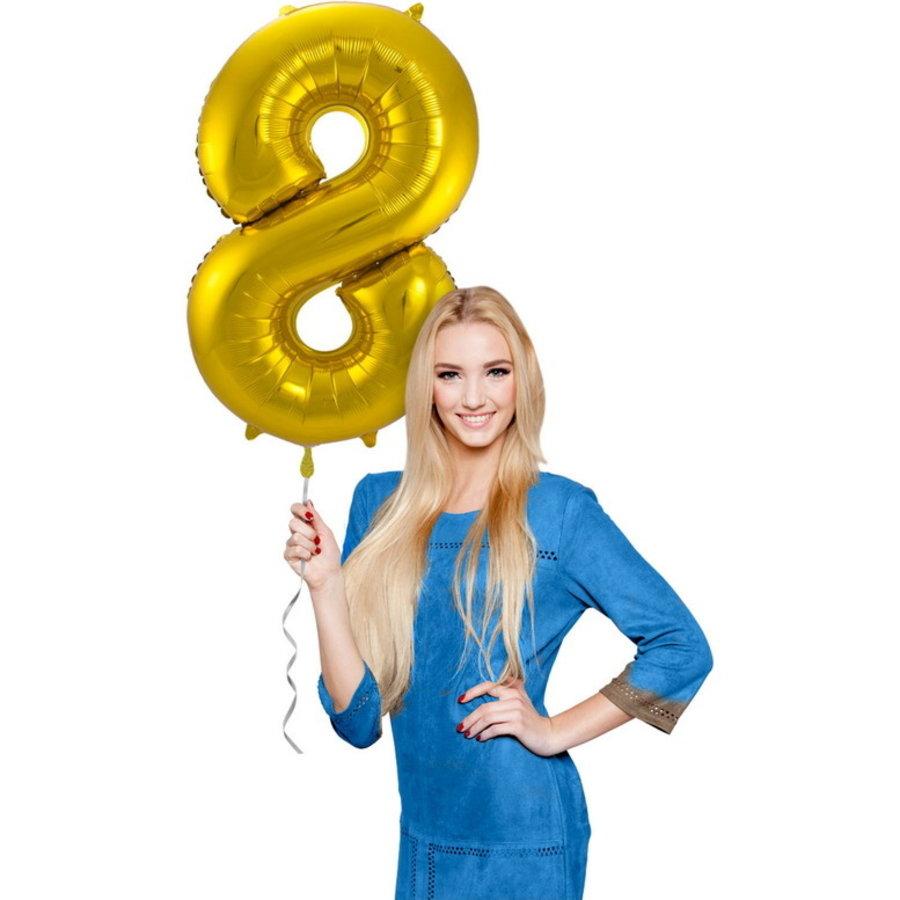 Folieballon cijfer 8 GOUD voor lucht of helium MEGA