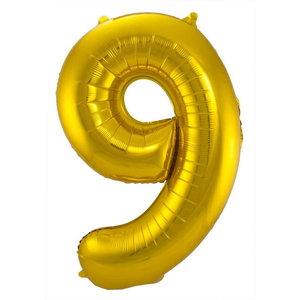 Folieballon cijfer 9 GOUD voor lucht of helium MEGA