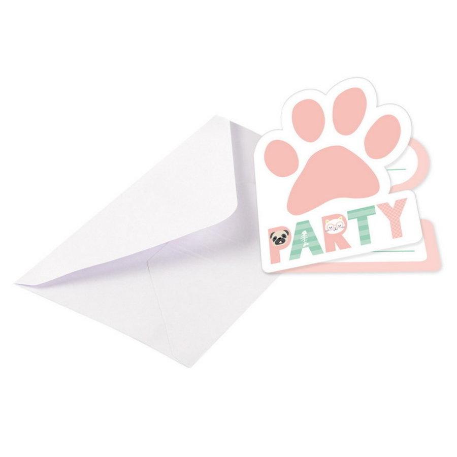 Uitnodigingskaartjes Hello Pets 8 stuks