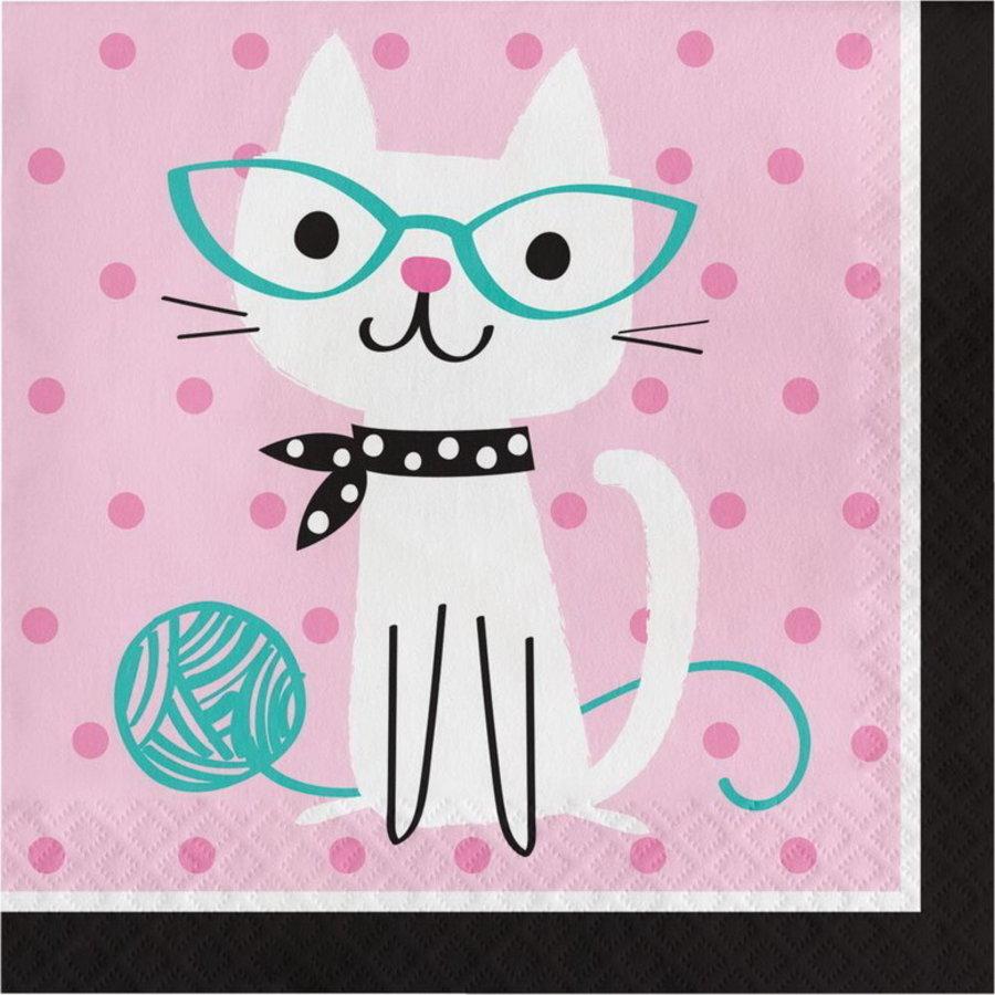 Servetten Party Cat  roze 16 stuks
