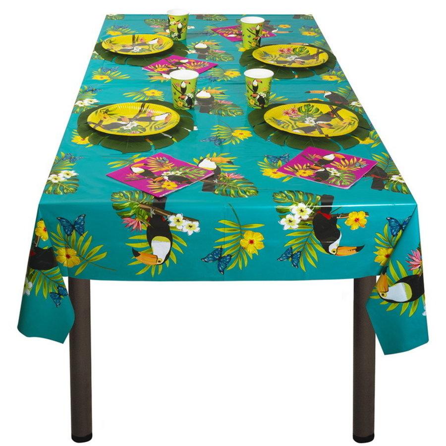 Tafelkleed Toekan met palmbladeren