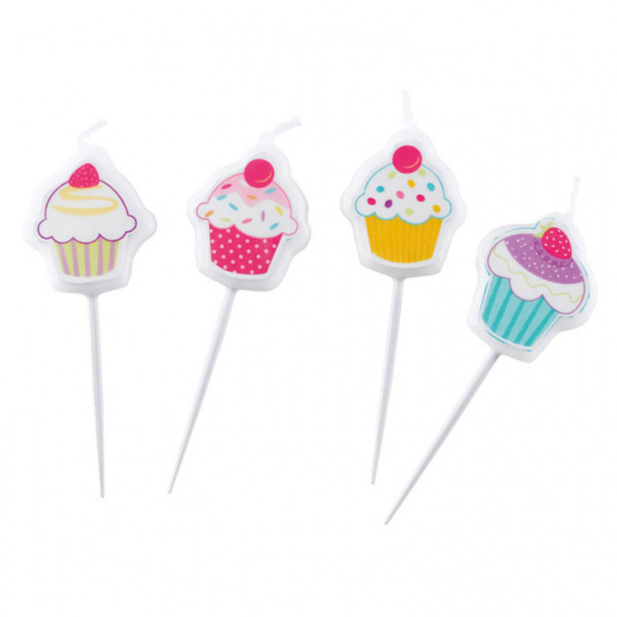 Kaarsjes Cupcake 4 stuks