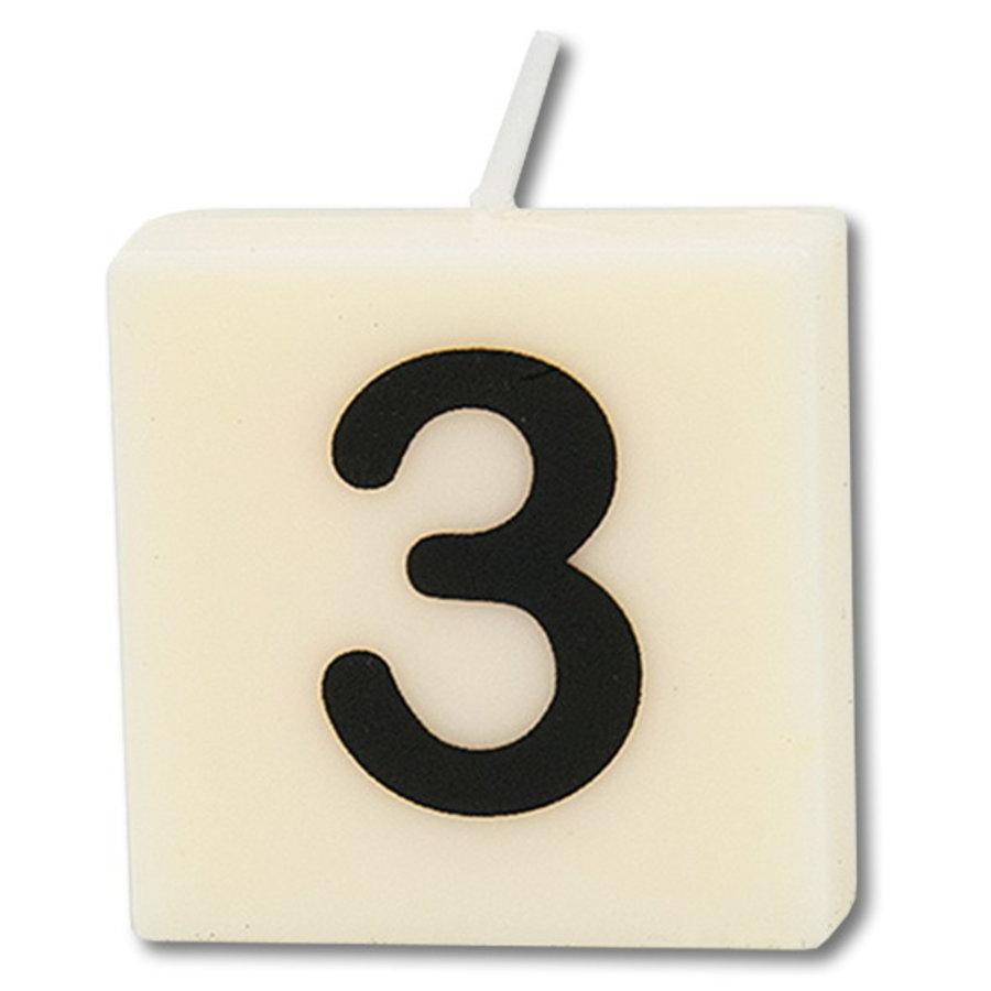 Cijfer kaarsje wit 3 jaar