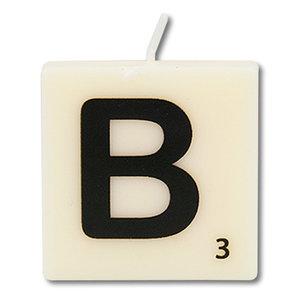 Letter kaarsje wit B