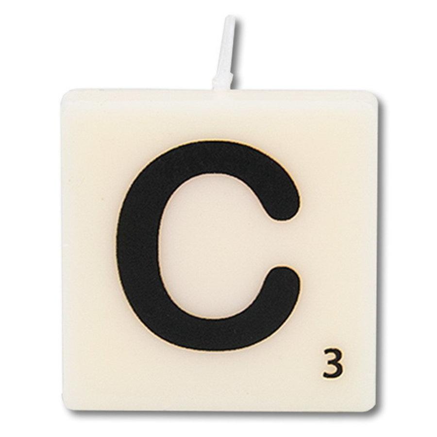 Letter kaarsje wit C