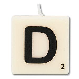 Letter kaarsje wit D