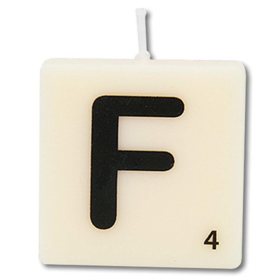 Letter kaarsje wit F