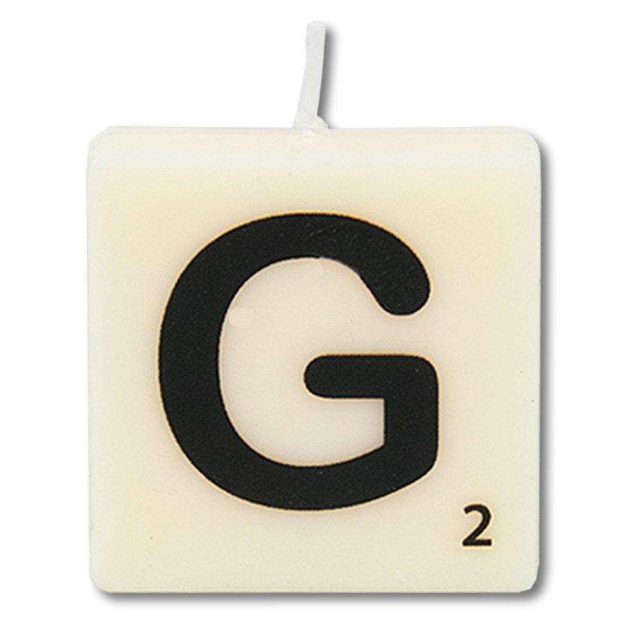 Letter kaarsje wit G