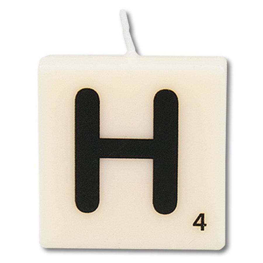 Letter kaarsje wit H