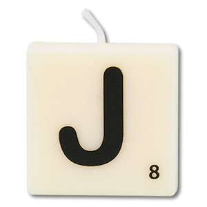 Letter kaarsje wit J