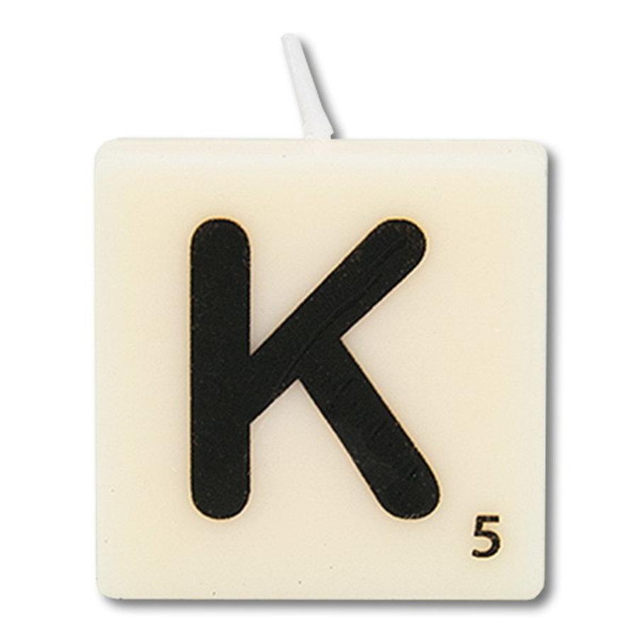 Letter kaarsje wit K