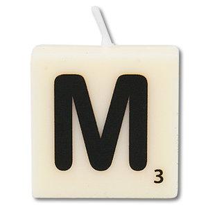 Letter kaarsje wit M