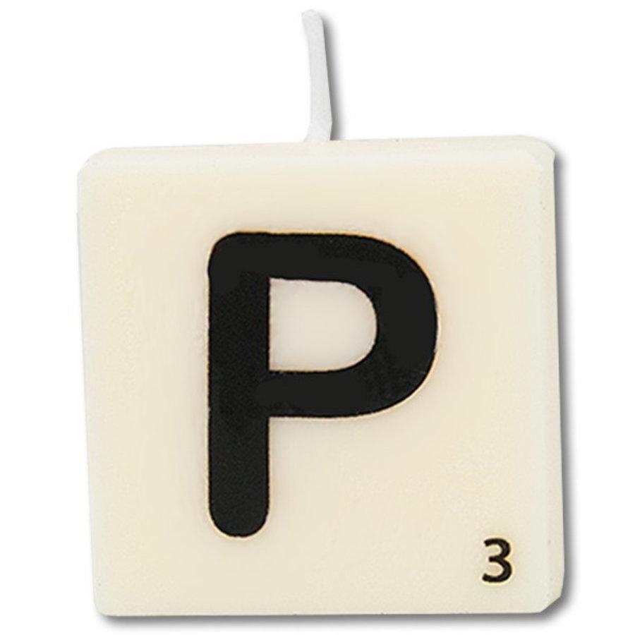 Letter kaarsje wit P