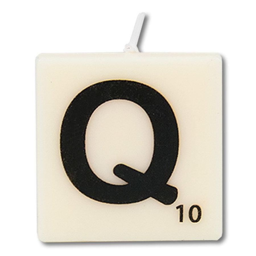 Letter kaarsje wit Q
