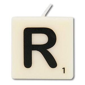 Letter kaarsje wit R
