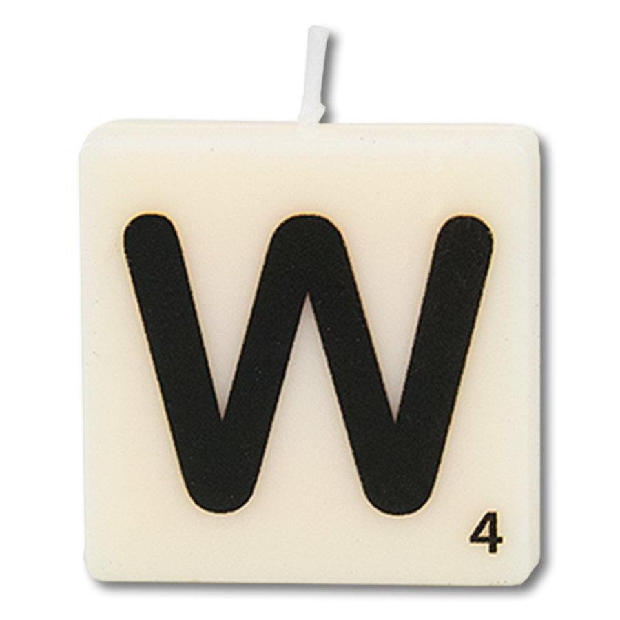 Letter kaarsje wit W