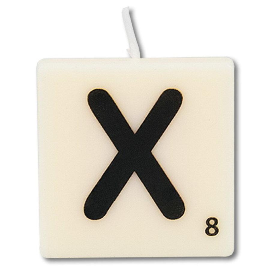 Letter kaarsje wit X