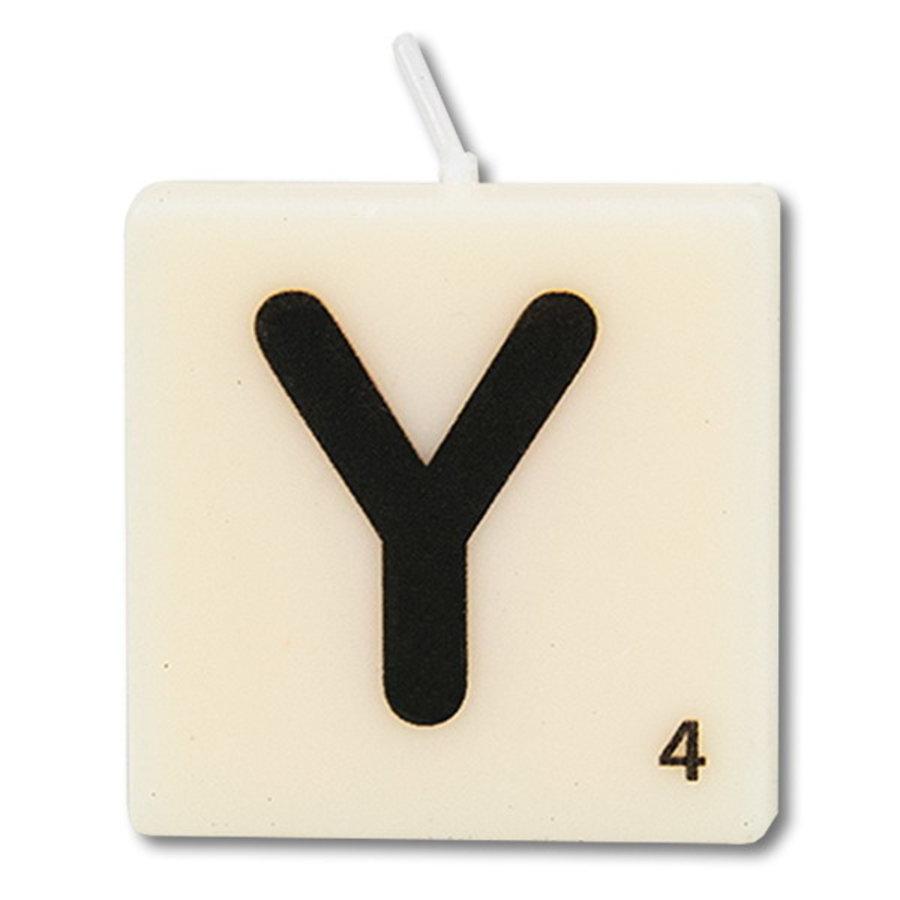 Letter kaarsje wit Y