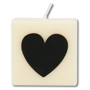 Kaarsje wit met hartje