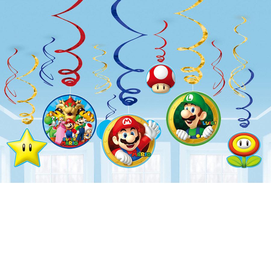 Hangdecoraties Super Mario luxe 12 stuks