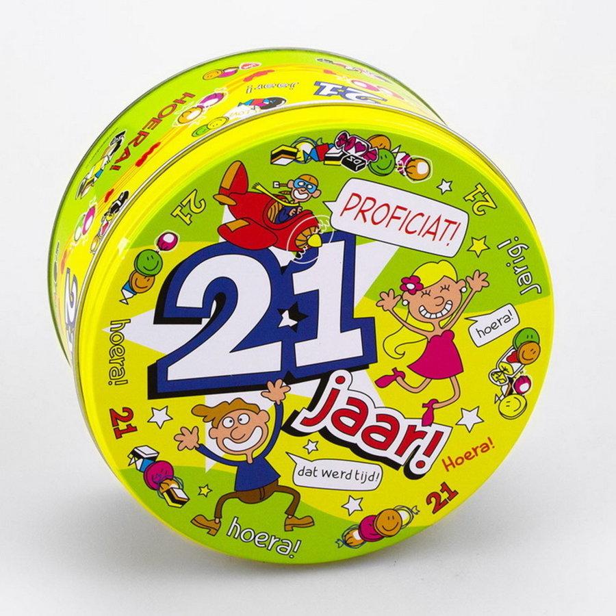 Snoep koekjestrommel 21 jaar