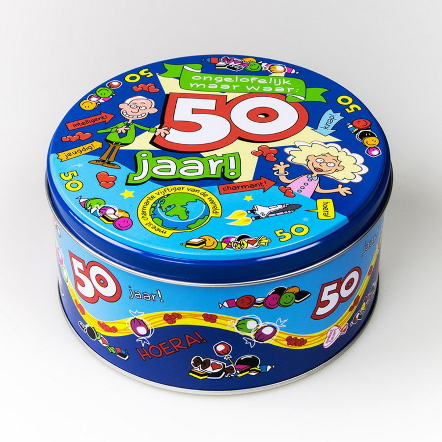 Snoep koekjestrommel 50 jaar