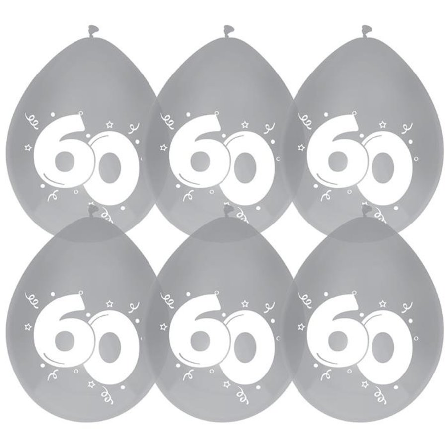 Ballonnen 60 jaar getrouwd diamant 6 stuks